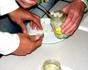 Zilveruien worden in azijn 'ingelegd'. Hierdoor komt de pH ruim onder de 4,0 Een hittebehandeling tot een temperatuur van 80 graden is voldoende om de uien jarenlang knapperig te houden. Dit is een voordeel van het pasteurisatieproces. de vers eigenschappen blijven beter behouden dan bij het sterilisatieproces