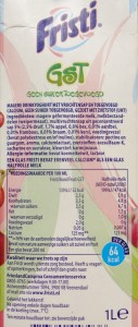 Fristi was vroeger meer integer dan nu. Let maar op het eiwitgehalte en het suikergehallte. Deze bedragen respectievelijk 2,5 en 3,5%. Een mooi product.