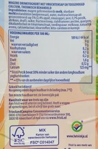 Het vernieuwde recept van Fristi laat schaamteloos zien dat er een plens water bijgedaan is en vooral veel suiker. Het eiwitgehalte is gedaald naar 1,8% en er zit ruim 2,5 keer meer suiker in. Hoe maak ik mijn kinderen snel tot diabetespatiënt!  Het product is in mijn ogen niet integer meer. Het nietszeggende IKB logo ondersteunt dit beleid kennelijk