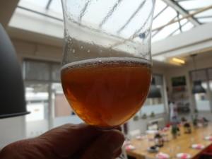 Gemberbier ziet er troebel uit. Niet zo donker als dit 20 jaar oude Brand Up biertje dat ik voor de uitzending van Kassa heb opengemaakt.