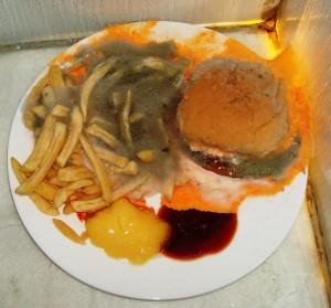 Hamburgers kunnen wel degelijk bederven. Dit beeld hebben wij gemaakt tijdens de opnames die voor het kinderprogramma Checkpoint door ons gemaakt werden