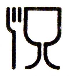 Al het materiaal dat direct in contact komt met ons voedsel moet als veilig getest zijn. Een verklaring van overeenstemming (met de EU regels) wordt beloond met het voeren van dit logo. Zelfs op uw koffiebekertjes kunt u dit logo aantreffen. Het is maar goed ook
